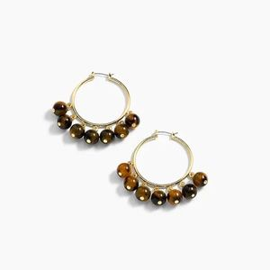 J.Crew beaded tortoise hoop earrings